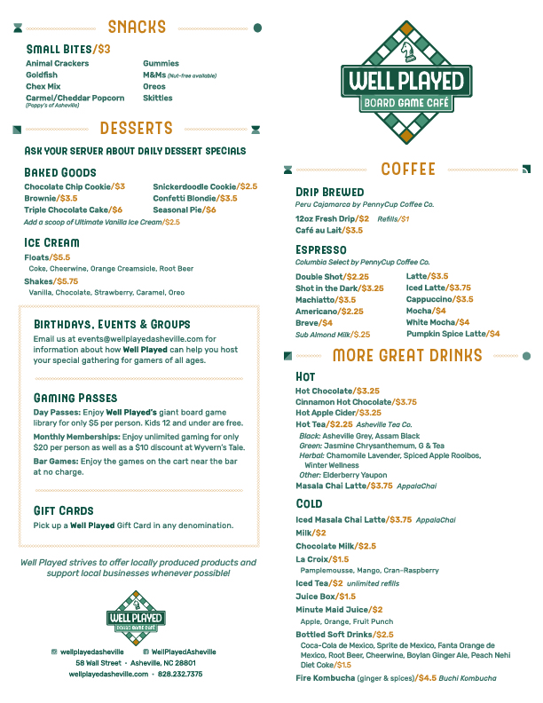 Well Played's Menu featuring delicious snacks, coffee, beer, wine, and sandwiches